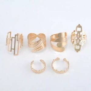5 for $25 Set Of 6 Gold Color Adjustable Rings